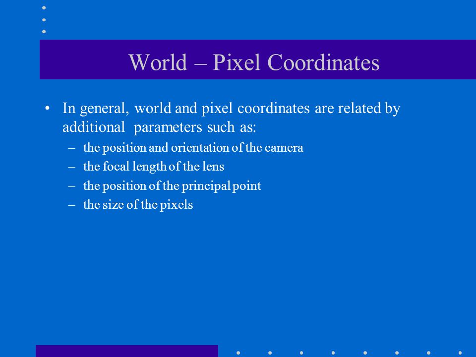 World – Pixel Coordinates