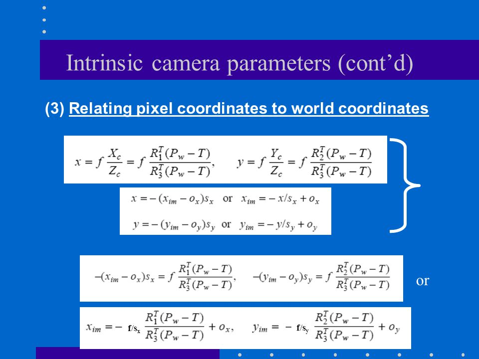 Intrinsic camera parameters (cont'd)