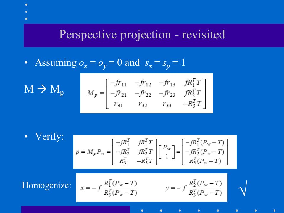 Perspective projection - revisited