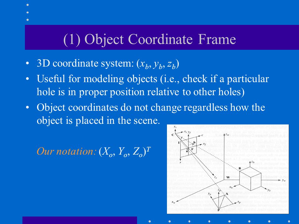 (1) Object Coordinate Frame