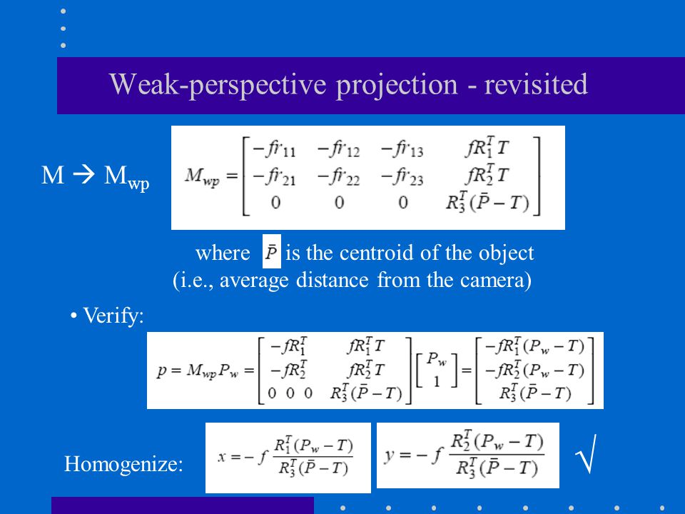 Weak-perspective projection - revisited