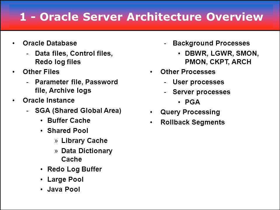 1 - Oracle Server Architecture Overview