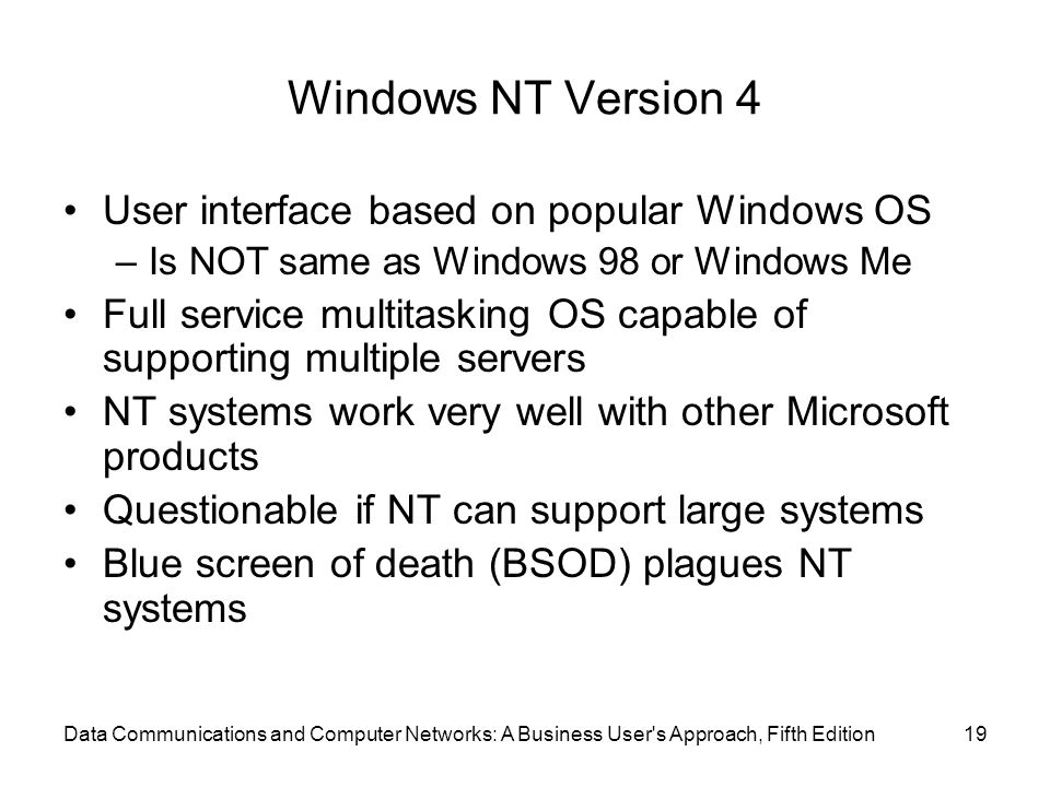 Windows NT Version 4 User interface based on popular Windows OS