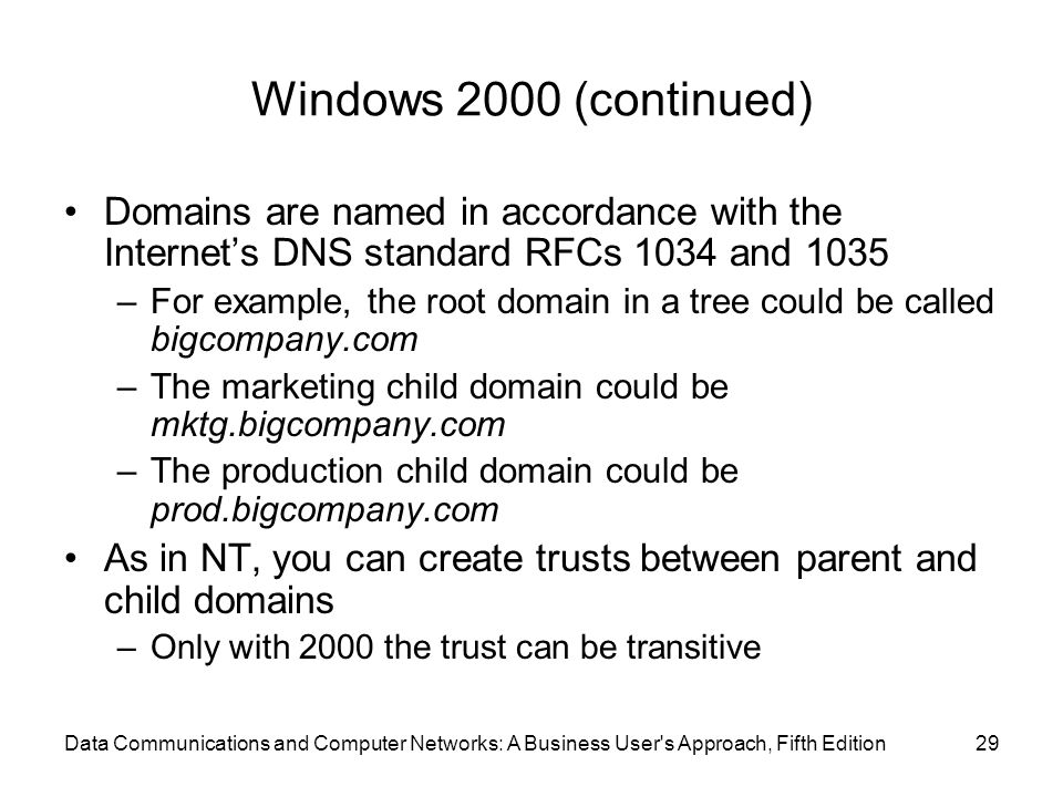 Windows 2000 (continued) Domains are named in accordance with the Internet's DNS standard RFCs 1034 and 1035.
