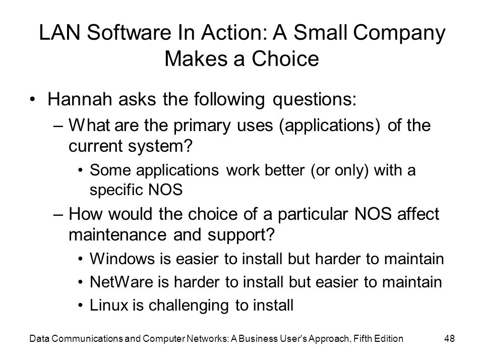 LAN Software In Action: A Small Company Makes a Choice