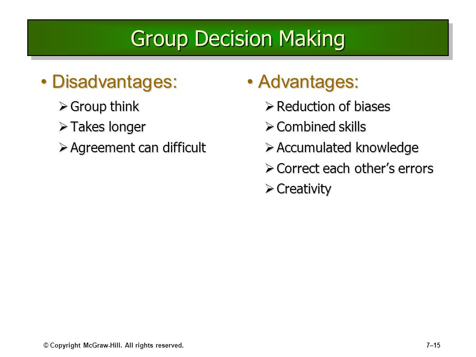 Group Decision Making Advantages 27