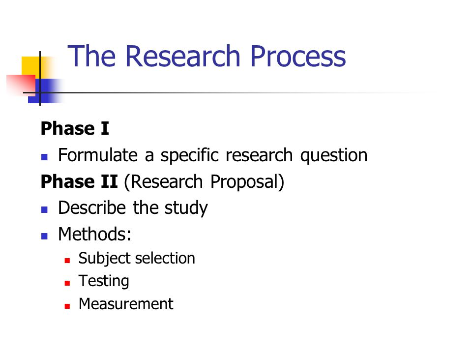 The Research Process Phase I Formulate a specific research question
