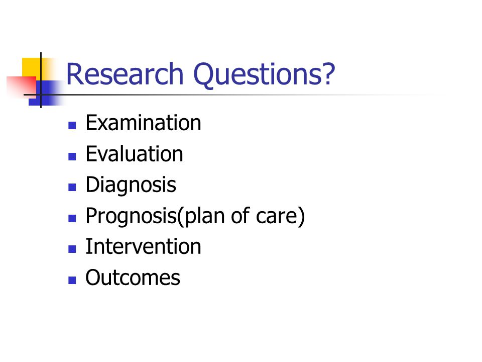Research Questions Examination Evaluation Diagnosis