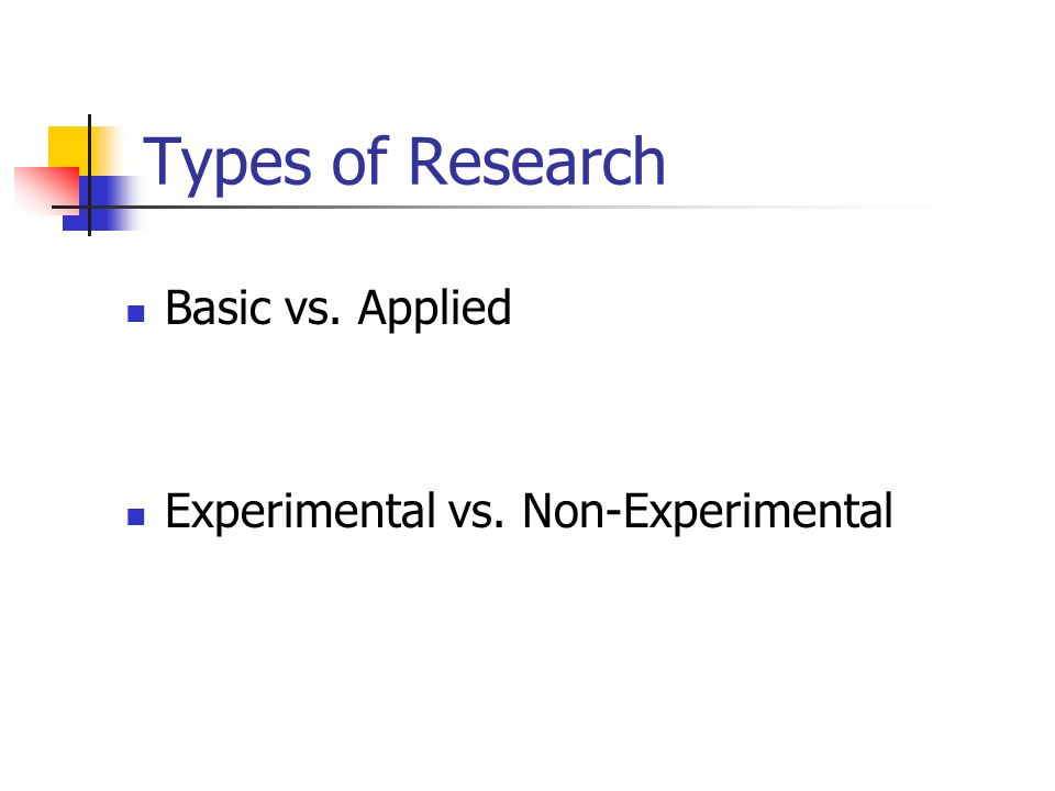 Types of Research Basic vs. Applied Experimental vs. Non-Experimental