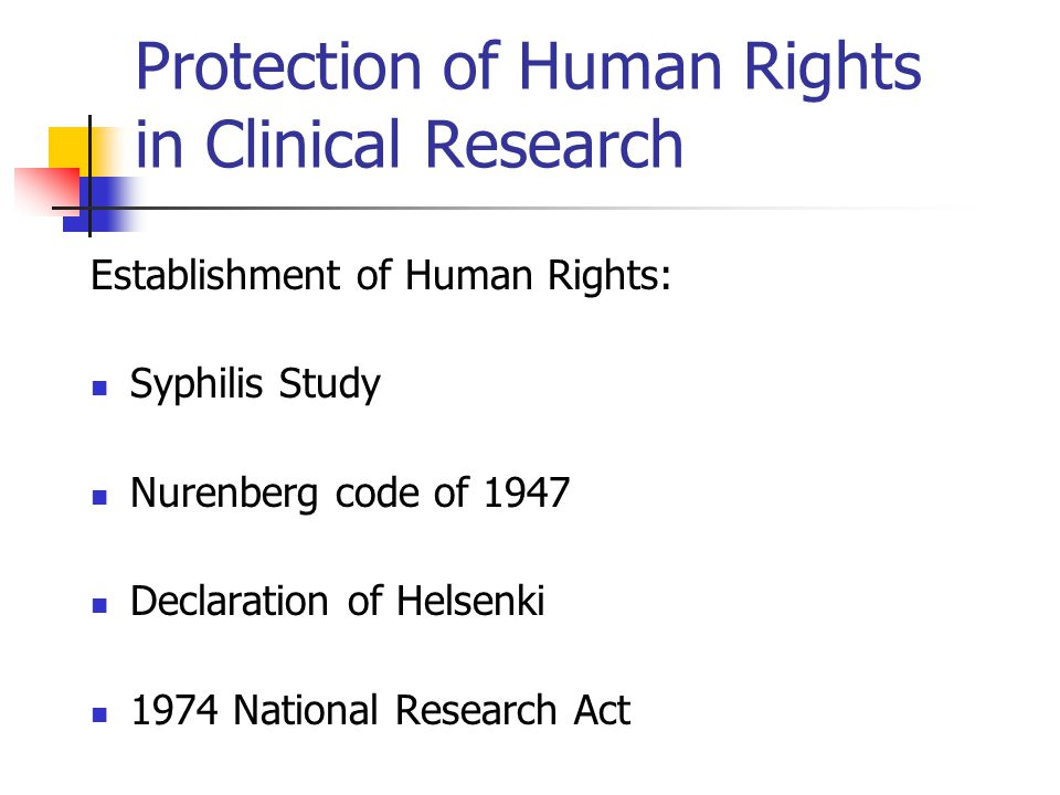 Protection of Human Rights in Clinical Research