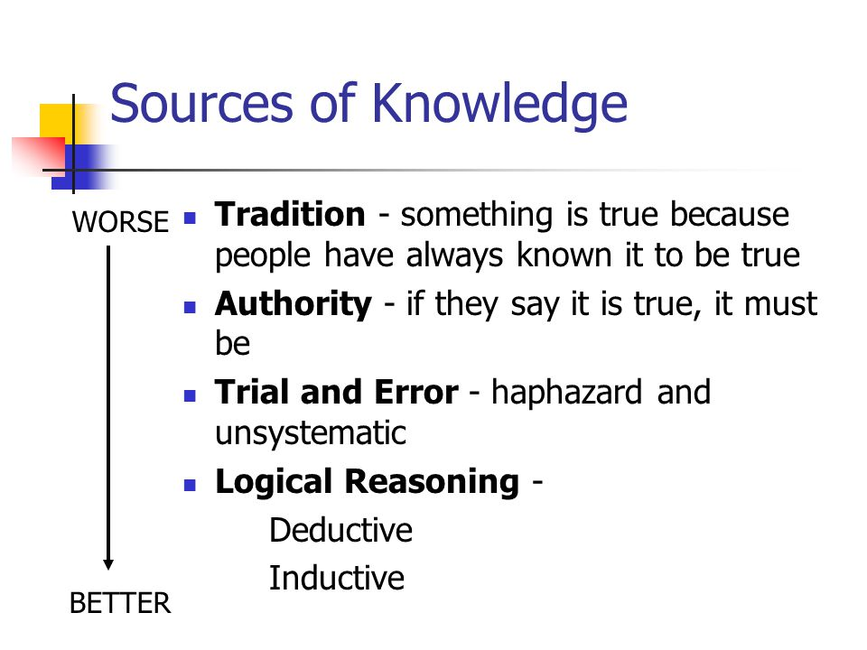 Sources of Knowledge Tradition - something is true because people have always known it to be true. Authority - if they say it is true, it must be.