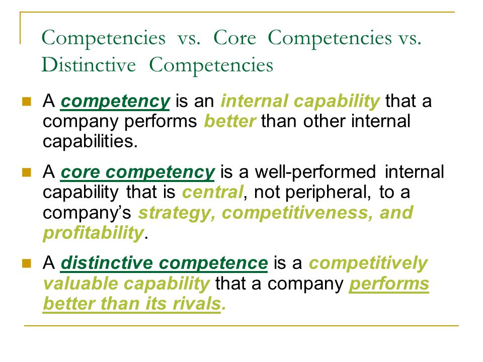 core and distinctive competency of hotel View test prep - core&distinctive competencies and strategic factor analysis from mgmt 4580 at georgia regents university chapter 5 core and distinctive competencies: -resources: are an.
