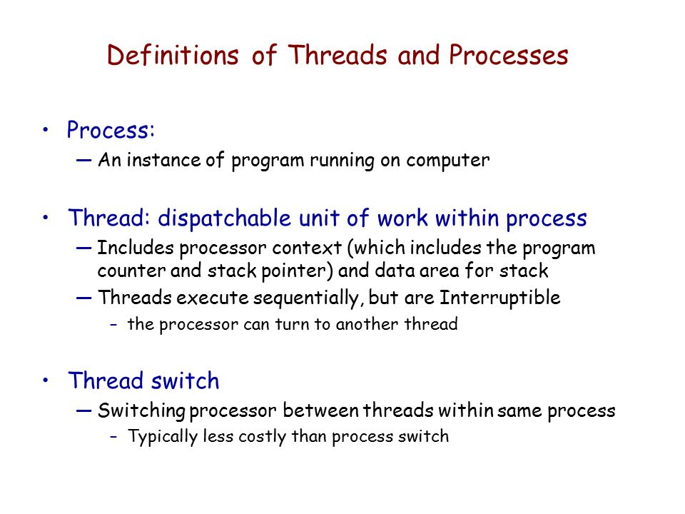 Definitions of Threads and Processes