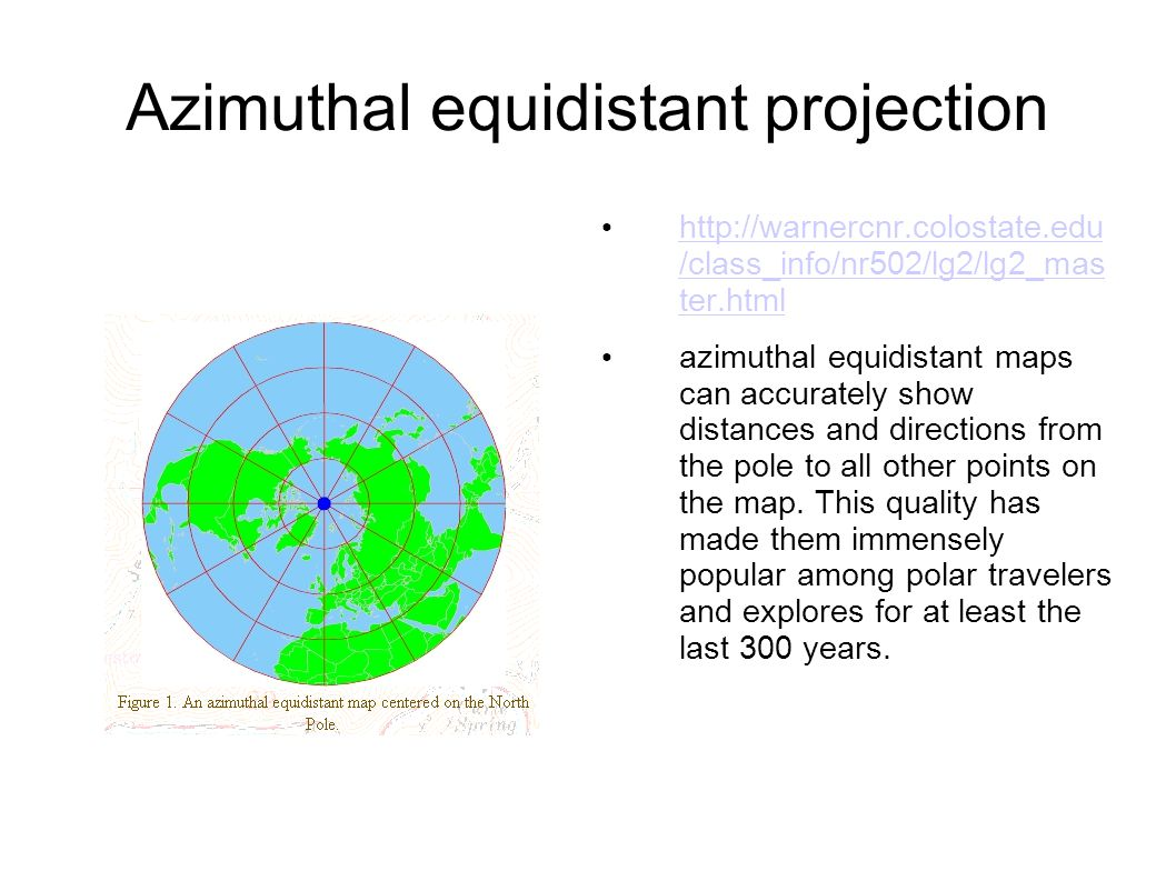 azimuthal equidistant projection Use this form to create an azimuthal map for any location on the globe you can customize the map in a variety of ways by changing the options in the web form.