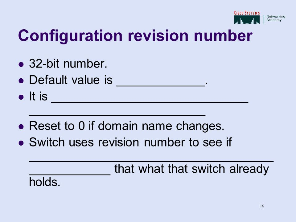 Configuration revision number