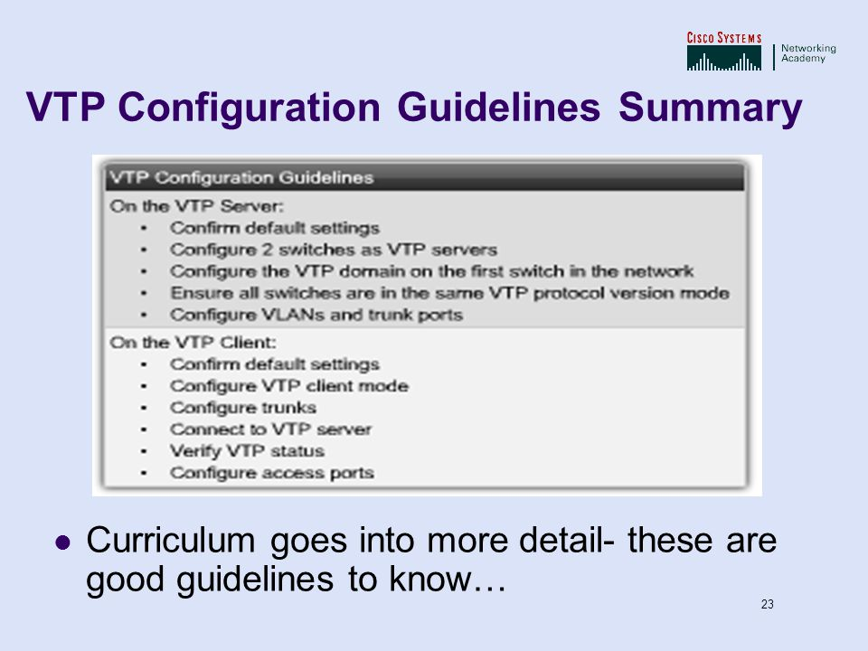 VTP Configuration Guidelines Summary