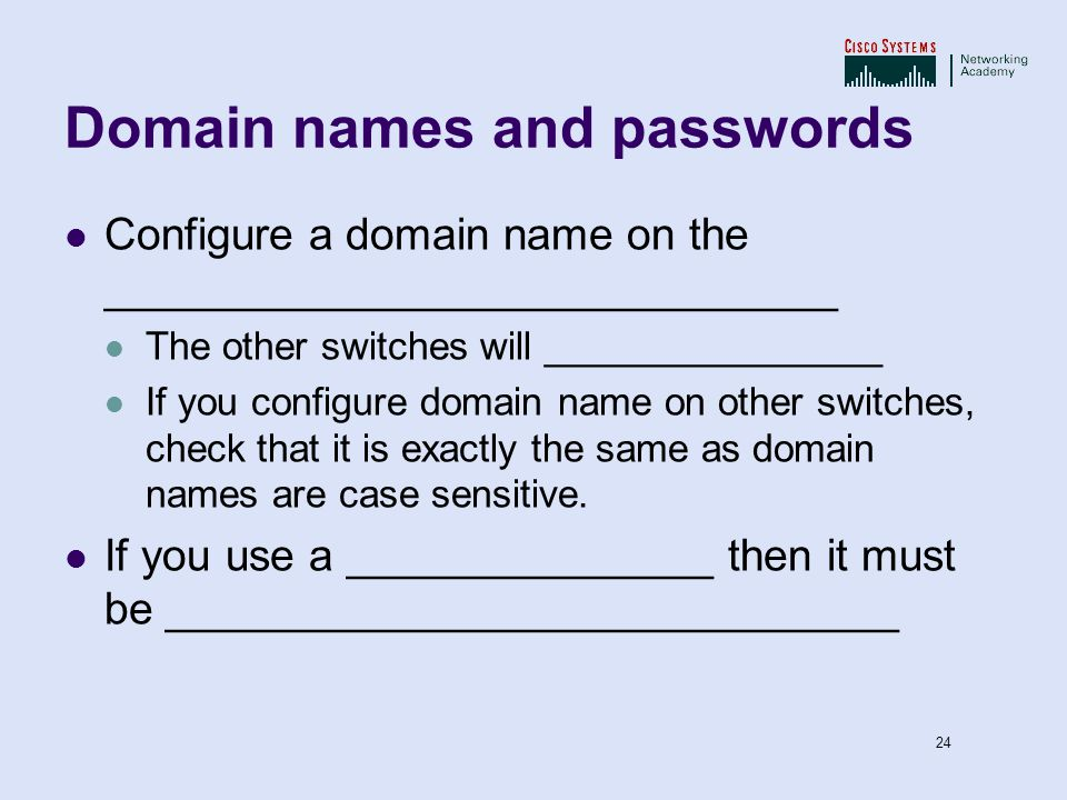 Domain names and passwords