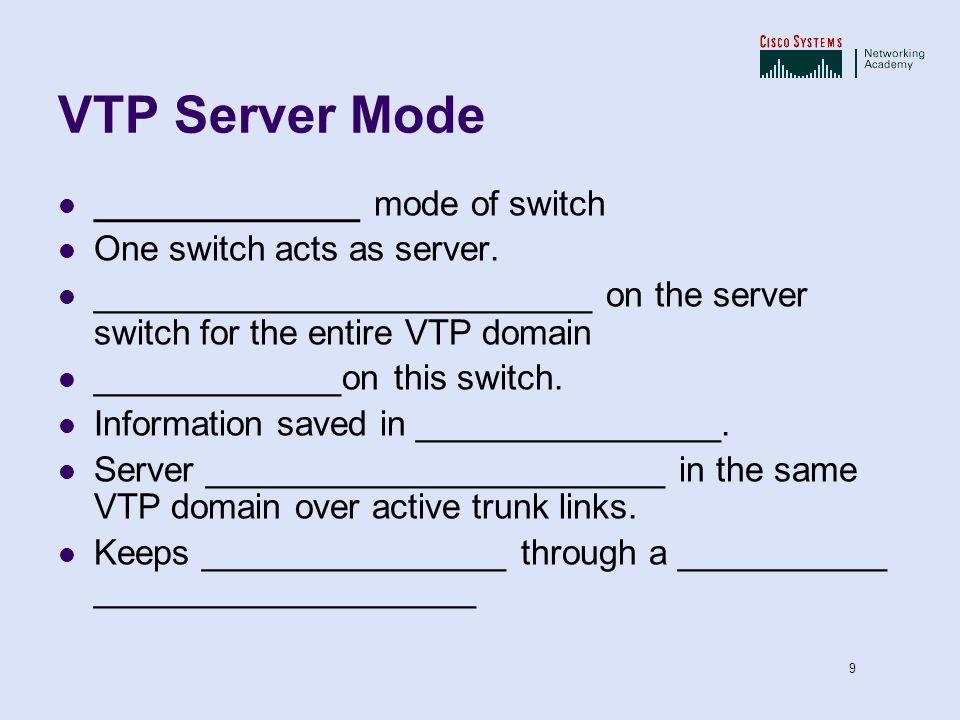 VTP Server Mode ______________ mode of switch