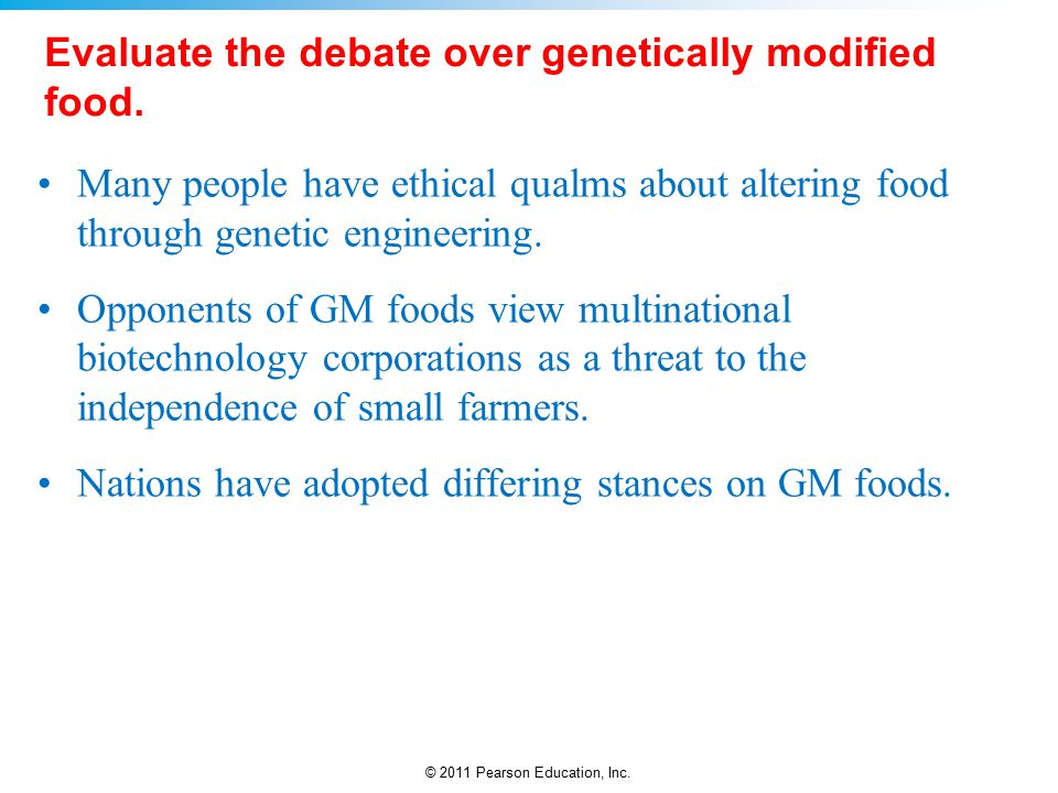 the food debate regarding the use of biotechnology Genetically modified foods and social current food biotechnology debate illustrates the serious conflict genetically modified foods and social concerns.