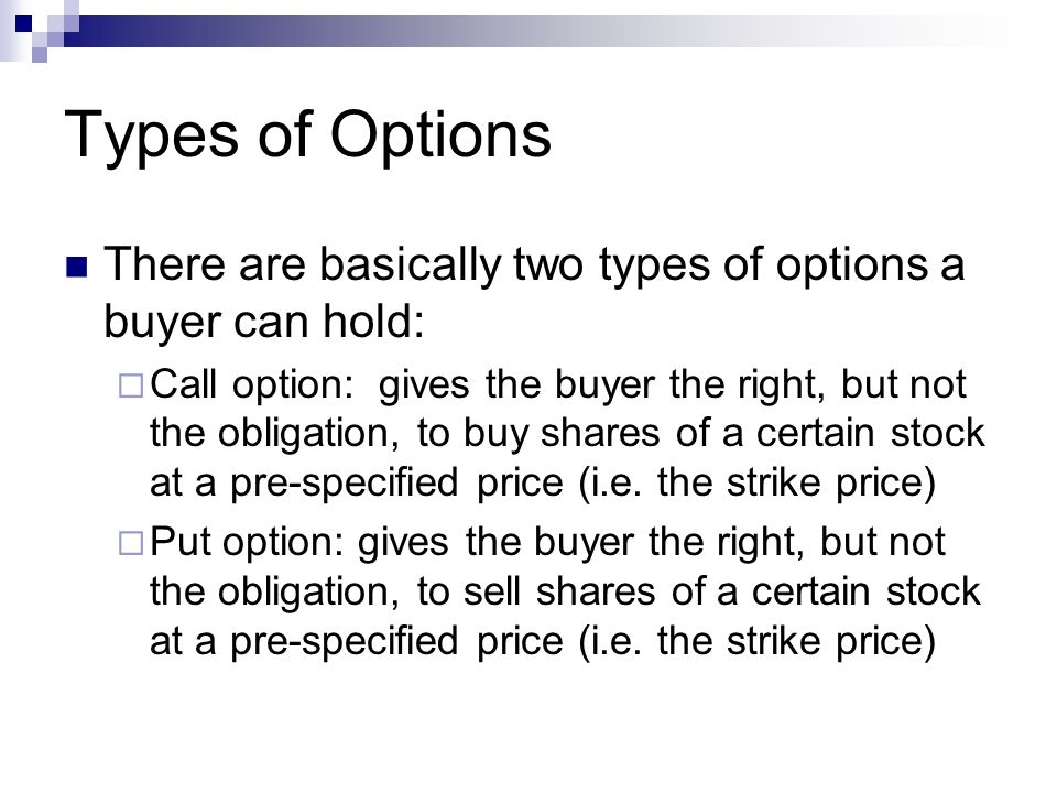 kinds of stock options