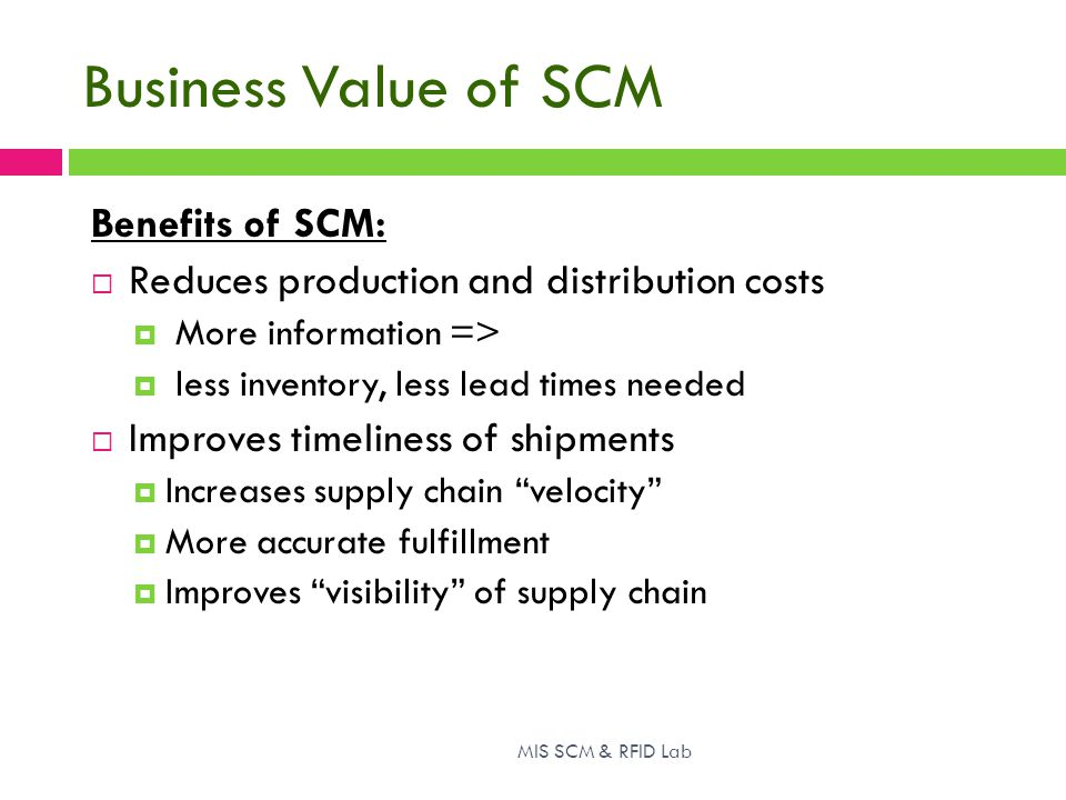 Business Value of SCM Benefits of SCM: