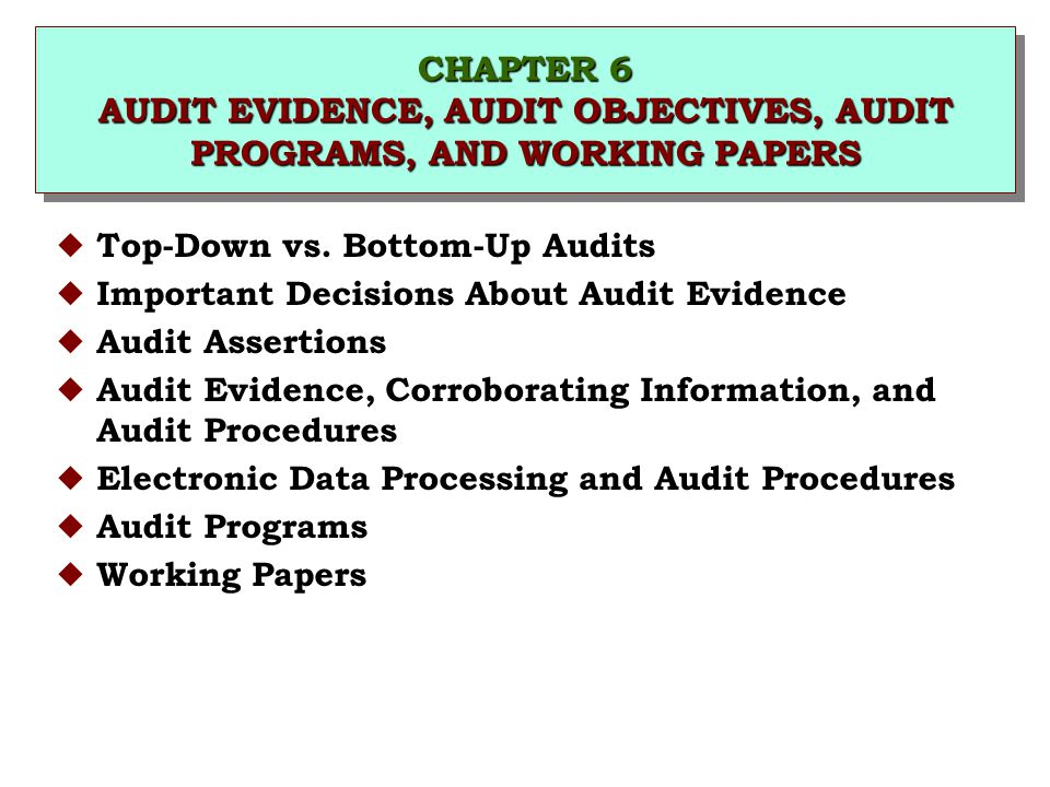 CHAPTER 6 AUDIT EVIDENCE, AUDIT OBJECTIVES, AUDIT PROGRAMS, AND WORKING PAPERS