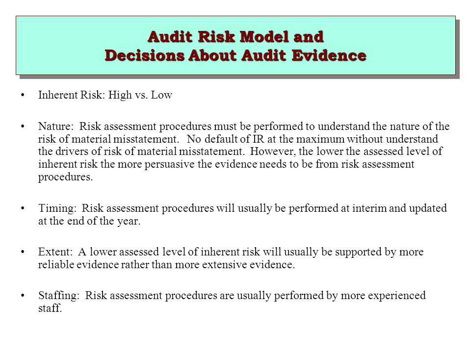 Audit Risk Model and Decisions About Audit Evidence