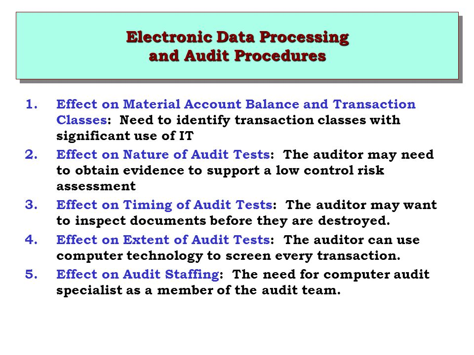 Electronic Data Processing and Audit Procedures