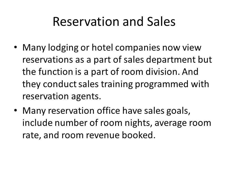 Reservation and Sales