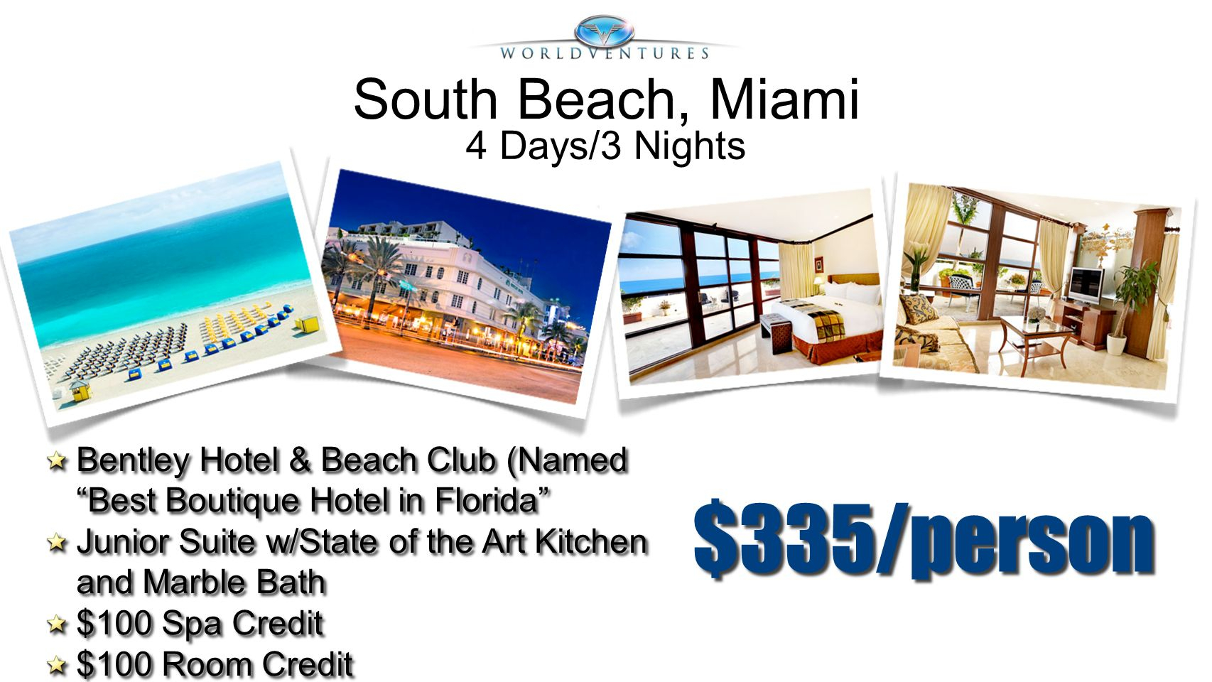 $335/person South Beach, Miami 4 Days/3 Nights