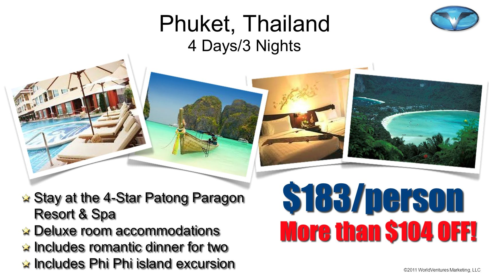 $183/person More than $104 OFF! Phuket, Thailand 4 Days/3 Nights