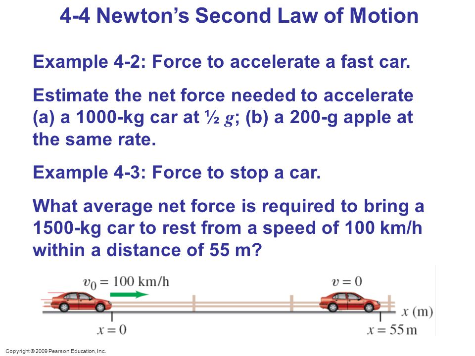 second law of motion examples