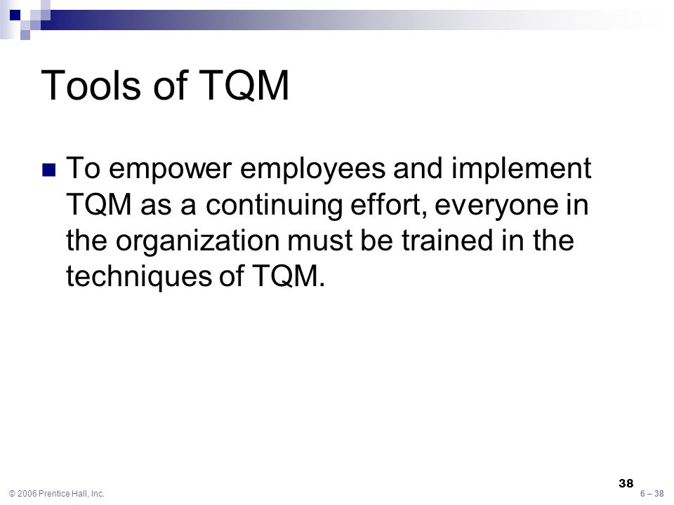 implementing tqm for an institution Total quality management the creation of the federal quality institute in june 1988 the adoption of tqm by many the methods for implementing this approach.