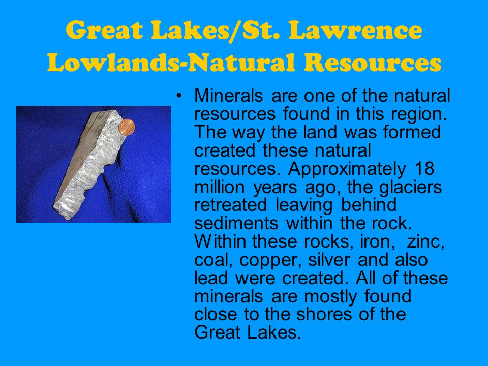 St Lawrence Lowlands Region Natural Resources