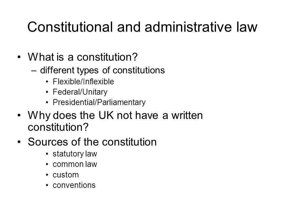 constitutional statutory administrative and common law Statutory law: laws that are passed by lawmaking bodies common law: a type of law that is made based on multiple judges' decisions administrative law: laws that affect our daily lives that are.