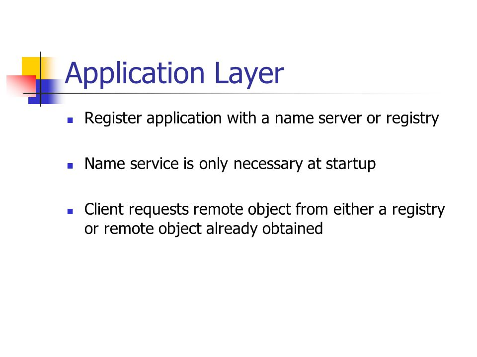 Application Layer Register application with a name server or registry