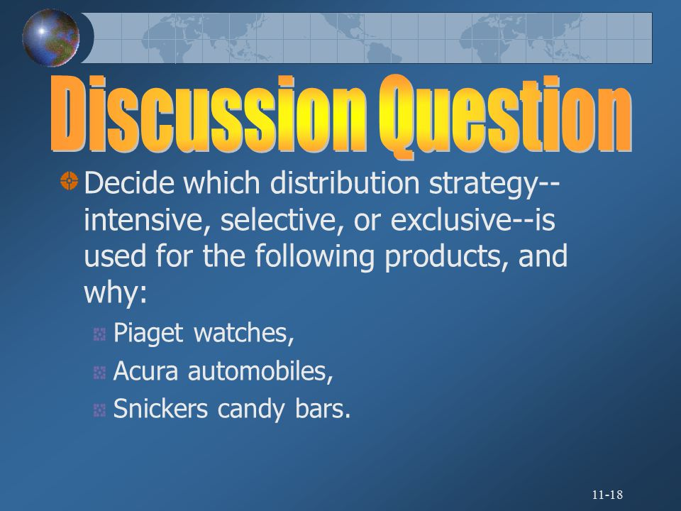Discussion Question Decide which distribution strategy--intensive, selective, or exclusive--is used for the following products, and why: