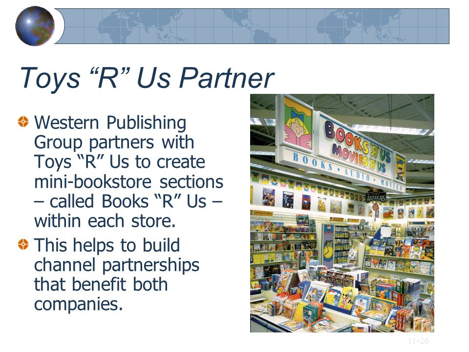 Toys R Us Partner Western Publishing Group partners with Toys R Us to create mini-bookstore sections – called Books R Us –within each store.