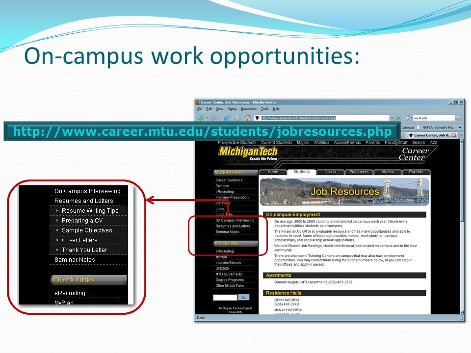 On-campus work opportunities: