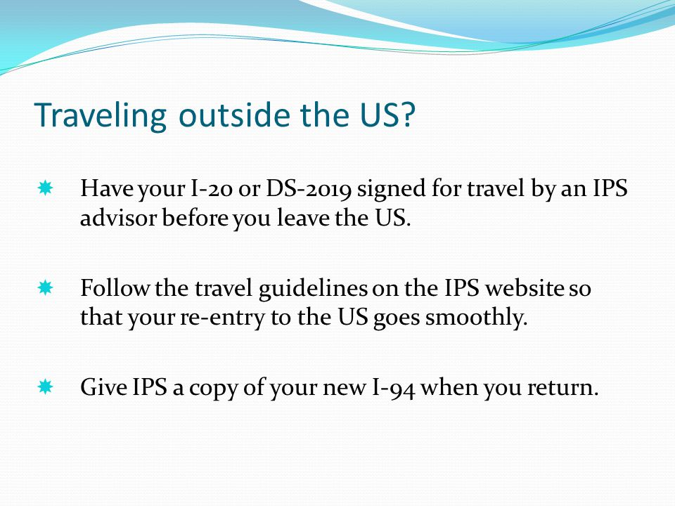 Traveling outside the US
