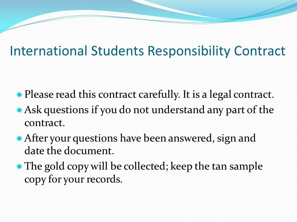 International Students Responsibility Contract