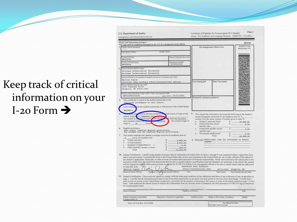 Keep track of critical information on your I-20 Form 
