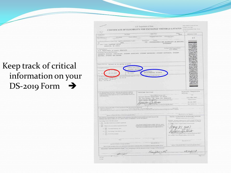 Keep track of critical information on your DS-2019 Form 