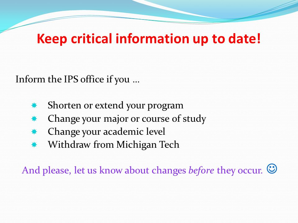 Keep critical information up to date!