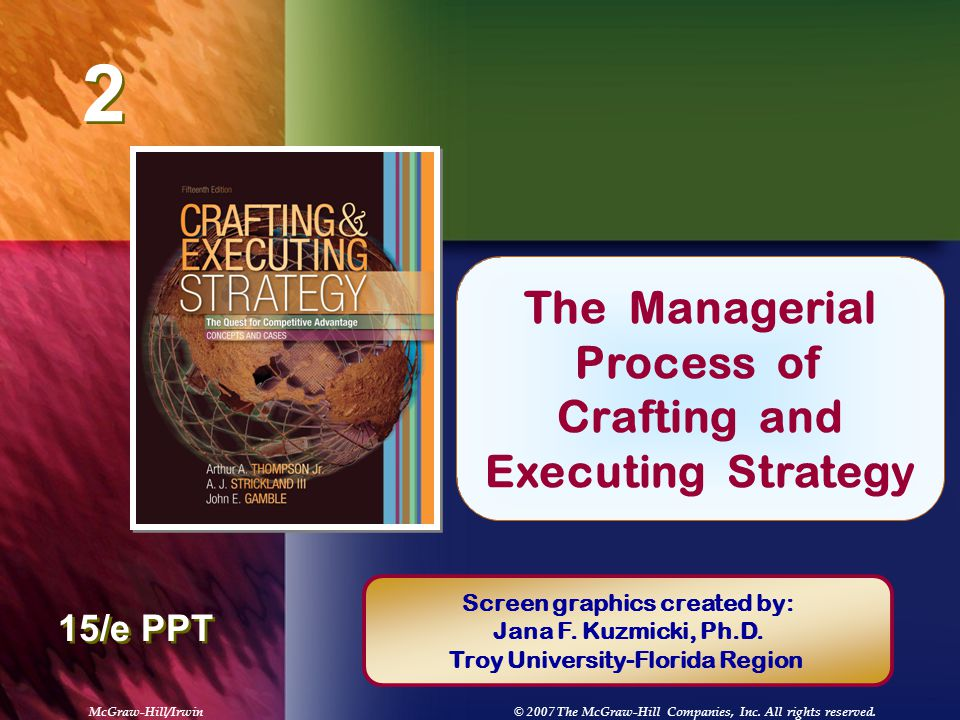 crafting and executing startegy chapter 1 Crafting and executing strategy hamza abobaker strategic management dr william stieber january 202013 1develop an argument supporting the importance of a strategic plan for the success of the defined business.