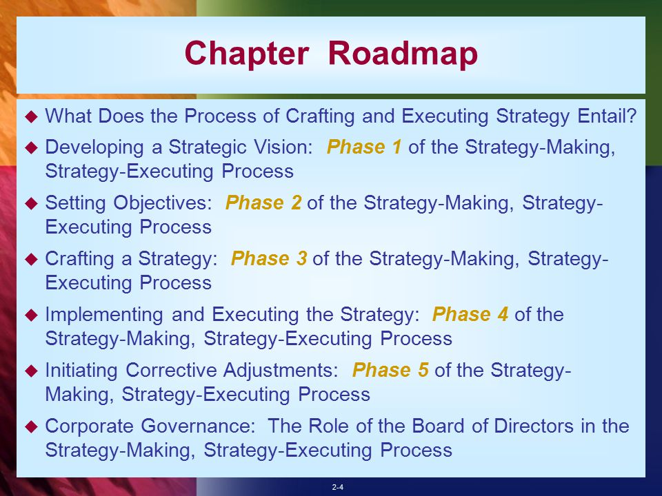 crafting executing strategy The process of crafting and executing a company's strategy is an ongoing, continuous process consisting of five interrelated stages: developing a strategic vision that charts the company's long-term direction strategic management for measuring the company's performance and tracking its progress in moving in the intended long-term.