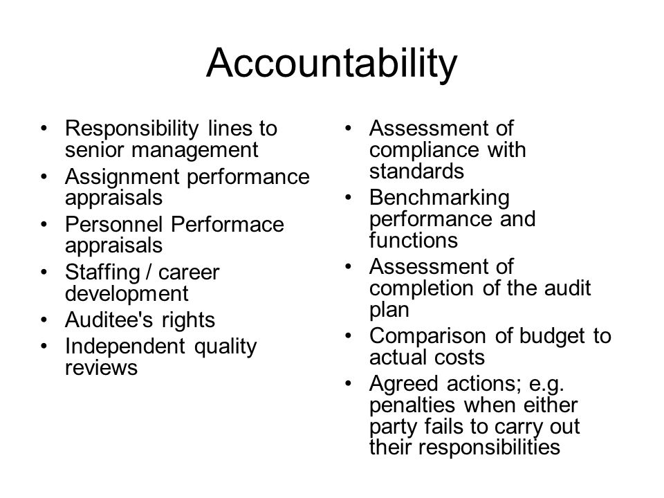 Accountability Responsibility lines to senior management