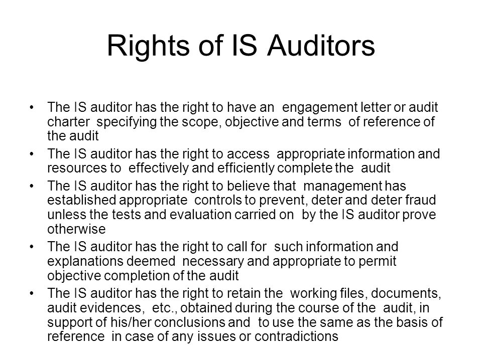 Rights of IS Auditors