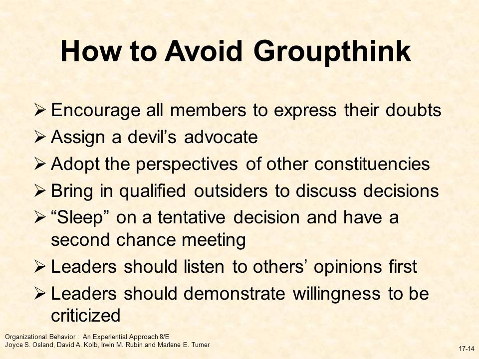 avoiding groupthink essay Read groupthink essays and research papers view and download complete sample groupthink essays, instructions, works cited pages, and more.