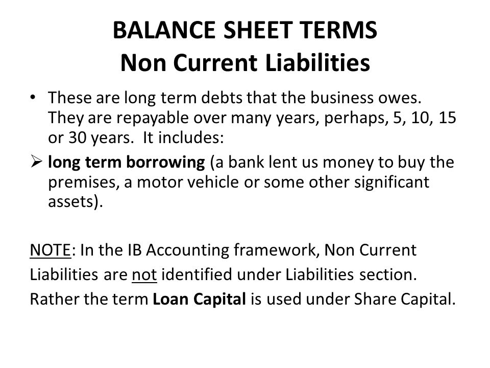 BALANCE SHEET TERMS Non Current Liabilities